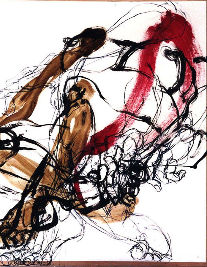 CORPS ET FILETS - 1997 - Pastel et acrylique sur papier (116x96) - © Palombit - Collection privée
