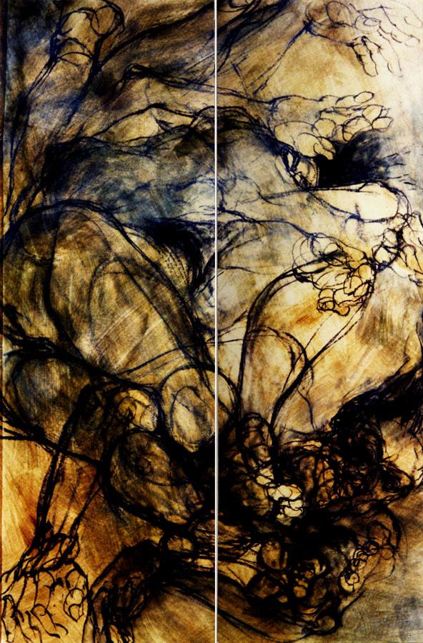 ASPIRATION 2 - 1993 - Pastel et acrylique sur papier (150x96) - © Palombit