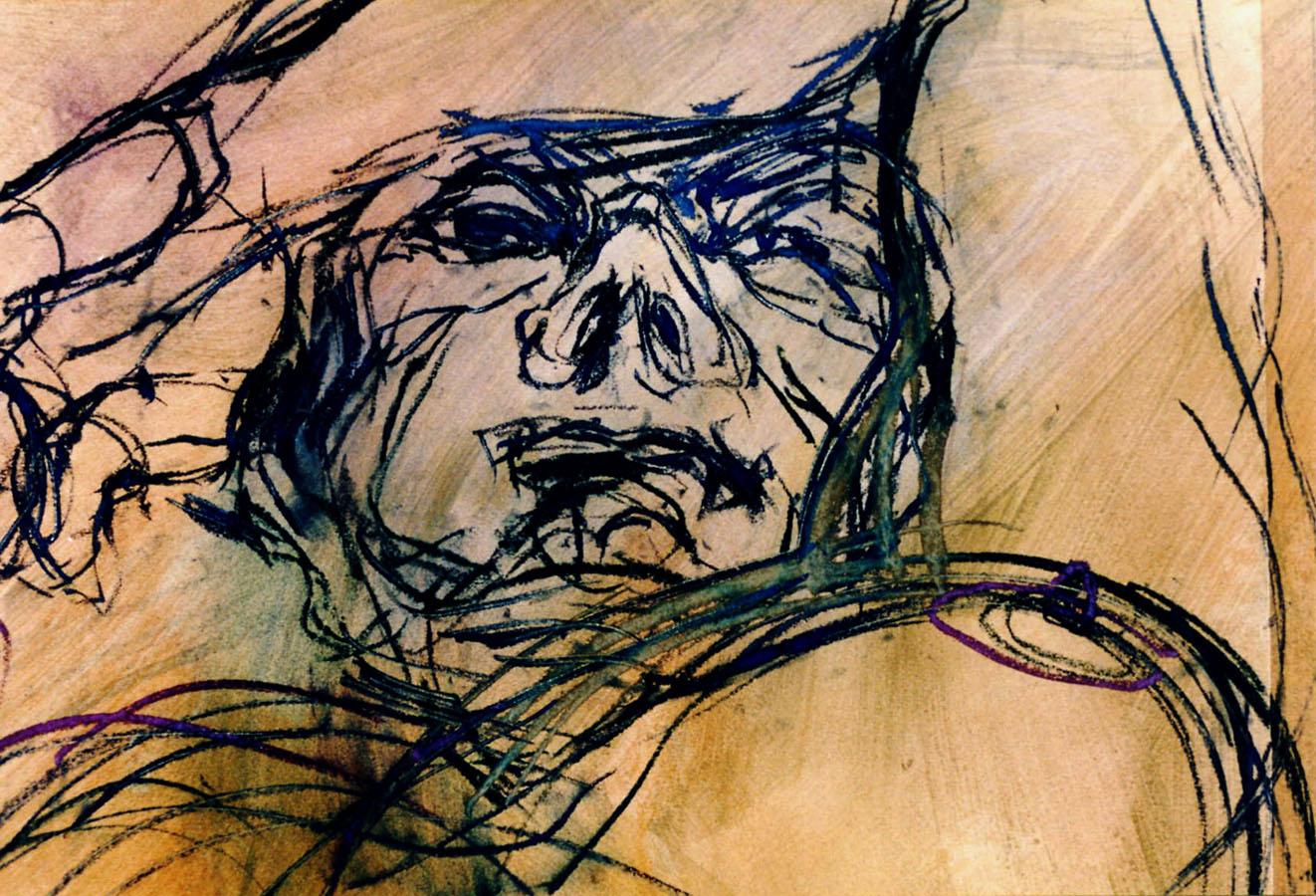 TRACE DE CORPS SUR PORTES JOYEUSES 3 - 1994 - Pastel et acrylique sur papier (54x67) - © Palombit