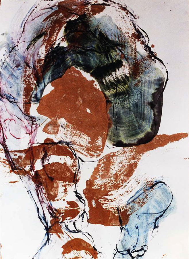 JEAN LOUIS 1 - 2001 - Pastel acrylique et encre sur papier maroufle sur toile (76x66) - © Palombit