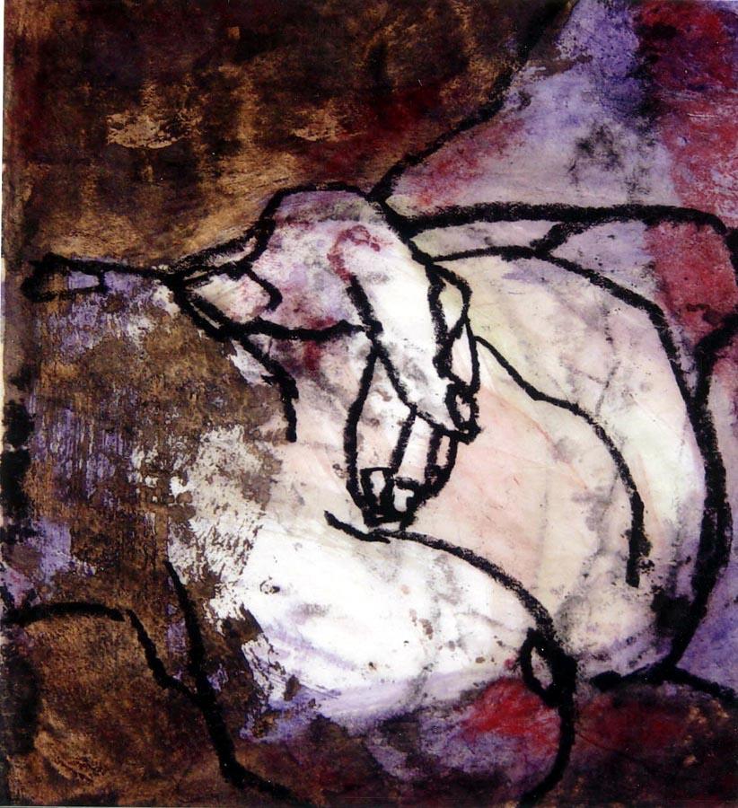 FEMME INDIGO EN SOLO - 2006 - Pastel, acrylique et huile sur papier chinois marouflé sur toile (50x50) - Collection Privée - © Palombit
