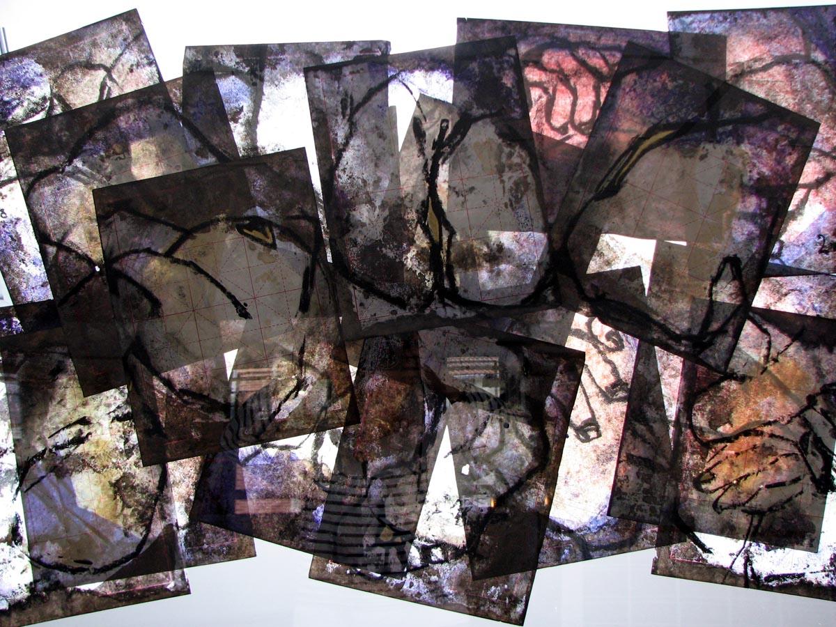 FRAGMENTS FEMININS PELE MELE RECTO VERSO - 2006 - Pastel, acrylique et huile sur papier chinois (130x180) - © Palombit