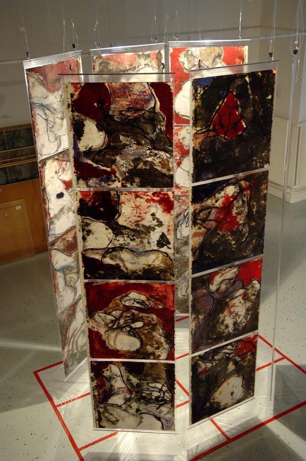 INDIGO NATURA - (polyptyque en 24 tps) - 2005 - Pastel, acrylique et huile sur papier chinois mis sous PVC Crystal (extérieur) (240x360) - © Palombit - © Photo Claude Abron