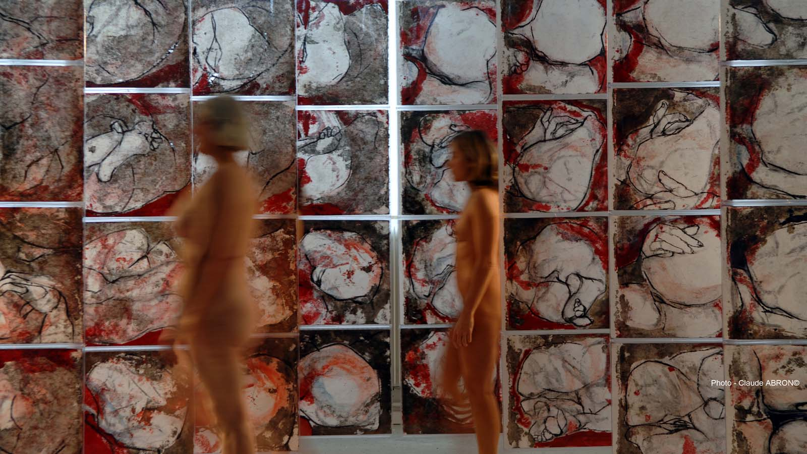 CARMIN CONCEPTION - (polyptyque en 32 tps) - 2005 - Pastel, acrylique et huile sur papier chinois mis sous PVC Crystal (extérieur) (200x400) - © Palombit - © Photo Claude Abron