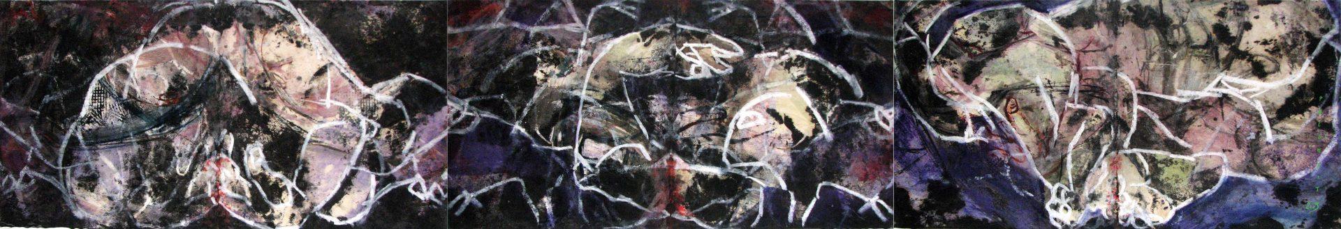PANORAMIQUE ORGANIQUE - 2009 - Pastel, acrylique et huile sur papier chinois marouflé sur toile (57x333) - © Palombit