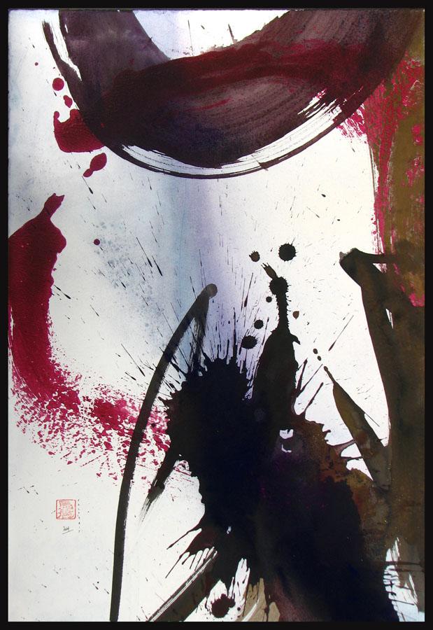 COULEUR ET CALLIGRAPHIE ORGANIQUE 1 - 2014 - Encre et acrylique sur papier BFK Rives marouflé sur toile (80x55) - © Palombit