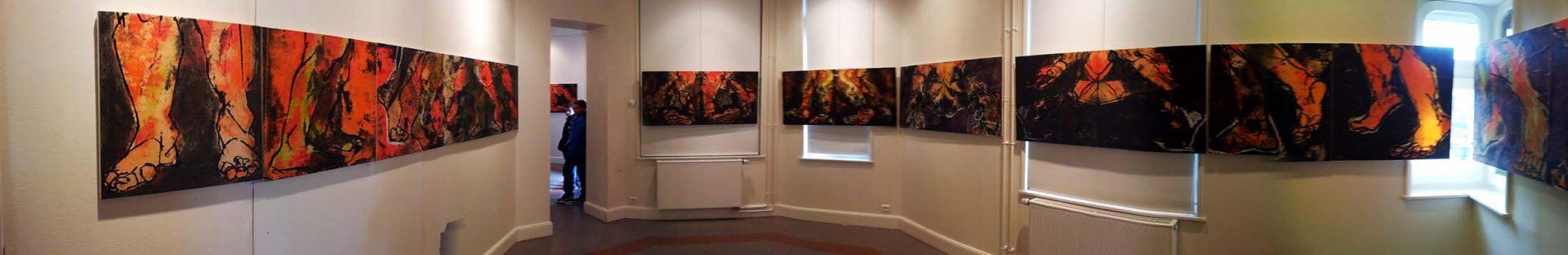 LES PARCOURS - Installation l'Atelier de MITRY MORY 77 (6 000 x 68) -  mars avril 2013 - Pastel, acrylique et huile sur papier chinois marouflé sur toile - © Palombit