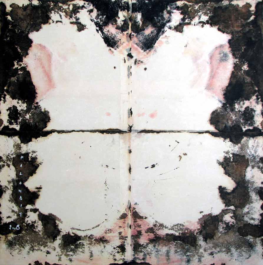 INSULA CORPUS 10 - 2008 - Pastel, acrylique et huile sur papier chinois marouflé sur toile (145x145) - © Palombit