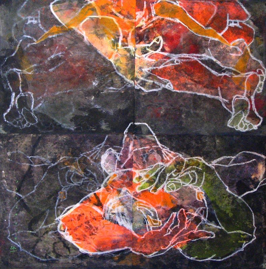 COSMO CORPUS - 2010 - Technique mixte sur papier marouflé sur toile (148x148) - © Palombit