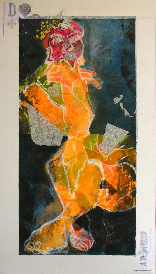 ARGINE DAME DE TREFLE - 2010 - Technique mixte sur papier marouflé sur toile (168x95) - © Palombit