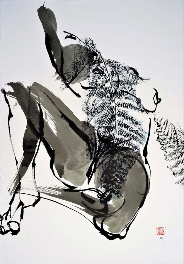 CALLIGRAPHIE ORGANIQUE 4 - 2018 - Encre et acrylique sur papier BFK Rives marouflé sur toile (90x63) - © Palombit